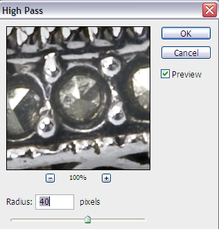 high pass filter radius
