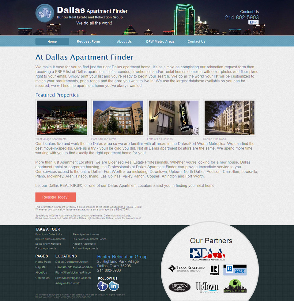 Apartment finder web design for Apartment web design