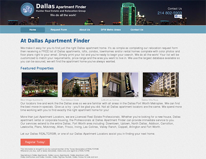 apartment finder web site design