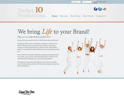 perfect 10 promotions dallas website design