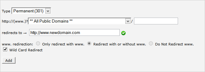 301 redirect with wildcard